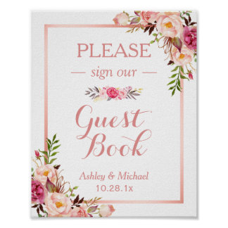 Guestbook Wedding Sign   Trendy Rose Gold Floral