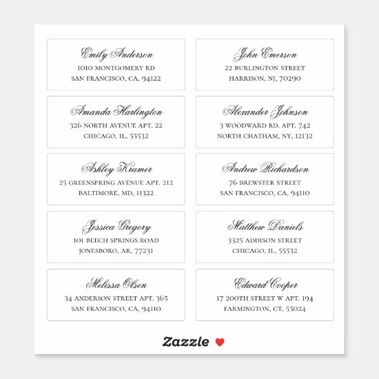 Guests names and address. Wedding shipping labels