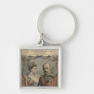 Guests of France, King Frederick VIII  and Queen Silver-Colored Square Keychain