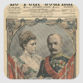 Guests of France, King Frederick VIII  and Queen Square Sticker