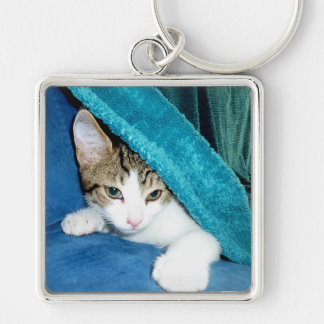 Gugus Silver-Colored Square Keychain