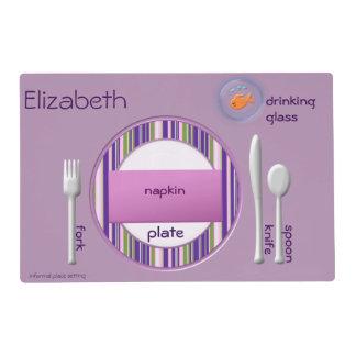 Guía del cubierto para las rayas de la púrpura de tapete individual