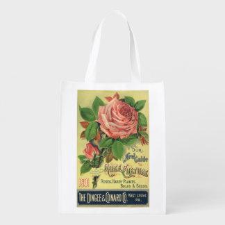 Guía del vintage al arte color de rosa de la bolsa reutilizable