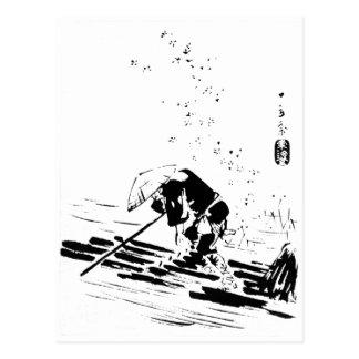 Guía japonesa del río tarjeta postal