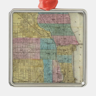Guide Map of Chicago Square Metal Christmas Ornament