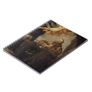 Guido Reni- St Francis in prayer with Two Angels Spiral Notebook