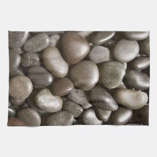 Guijarro negro del zen de la naturaleza de la roca toallas de cocina
