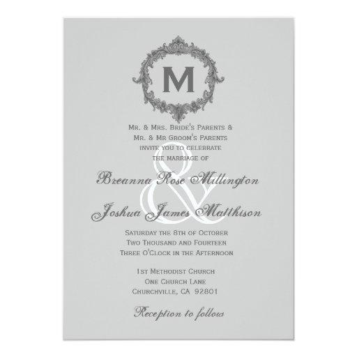 """Guijarro pálido y monograma gris del marco que invitación 5"""" x 7"""""""