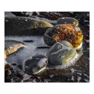 Guijarros en la impresión de la foto de la playa fotografías