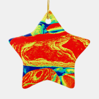 Guijarros psicodélicos adorno navideño de cerámica en forma de estrella