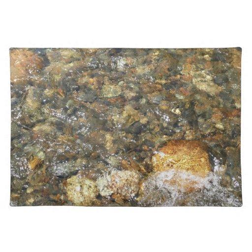 Guijarros Río-Gastados Brown y extracto natural Mantel Individual