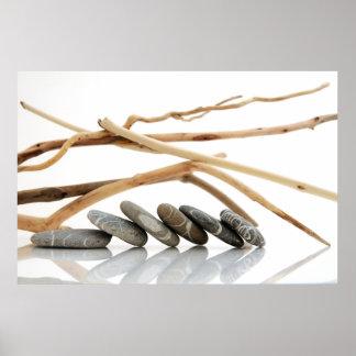 Guijarros y driftwood impresiones