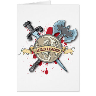 GUILD LEADER Tattoo - Sword, Axe, and Shield Greeting Card