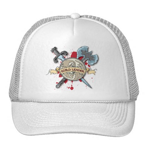 GUILD LEADER Tattoo - Sword, Axe, and Shield Trucker Hat