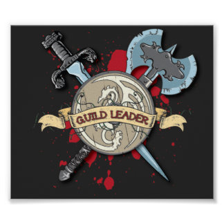 GUILD LEADER Tattoo - Sword, Axe, and Shield Print
