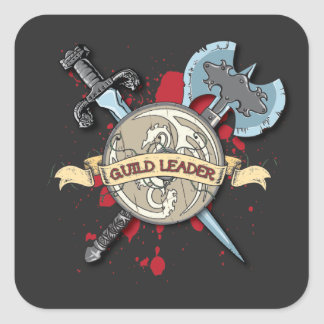 GUILD LEADER Tattoo - Sword, Axe, and Shield Square Sticker
