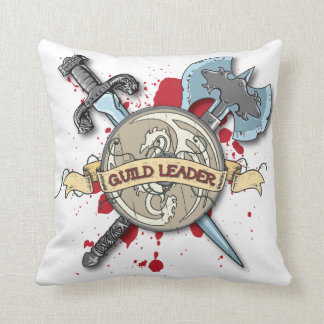 GUILD LEADER Tattoo - Sword, Axe, and Shield Throw Pillow