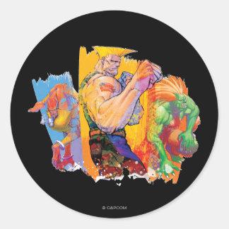 Guile, Blanka & Dhalsim Classic Round Sticker