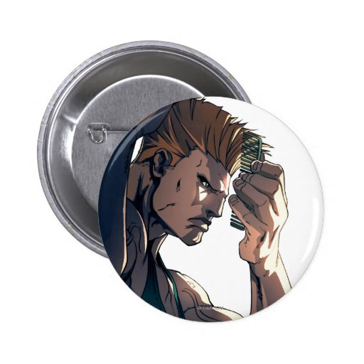 Guile Combing Hair 2 Inch Round Button