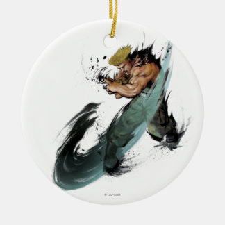 Guile Sonic Boom Double-Sided Ceramic Round Christmas Ornament