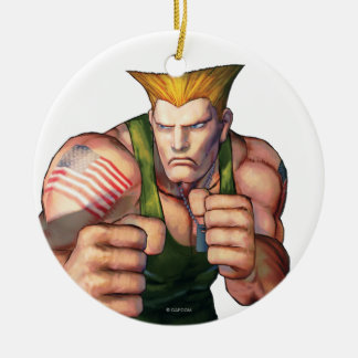 Guile With Fists Double-Sided Ceramic Round Christmas Ornament