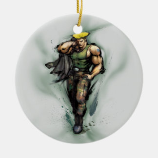 Guile With Jacket Double-Sided Ceramic Round Christmas Ornament