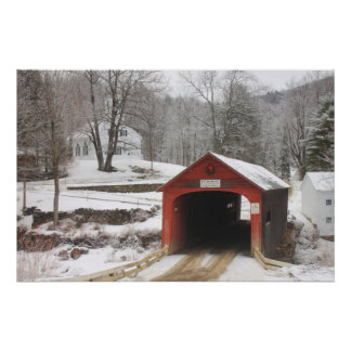 Guilford Vermont Covered Bridge and Village Scene Poster