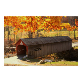 Guilford Vermont Covered Bridge Autumn Poster