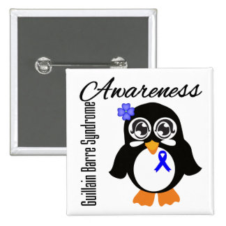 Guillain Barre Syndrome Awareness Penguin 2 Inch Square Button