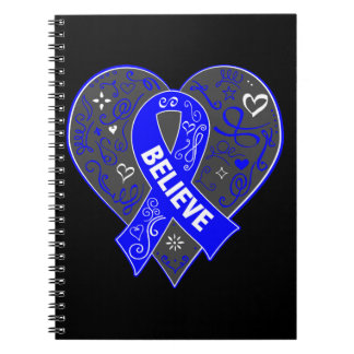 Guillain Barre Syndrome Believe Ribbon Heart Spiral Note Books