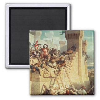 Guillaume de Clermont defending Ptolemais 2 Inch Square Magnet