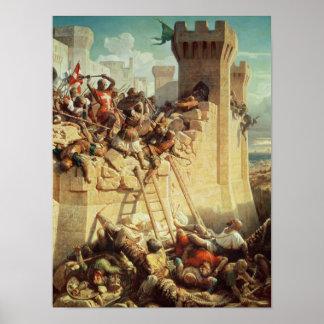 Guillaume de Clermont que defiende Ptolemais Póster