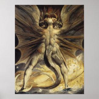 Guillermo Blake - el gran dragón rojo y la mujer Póster