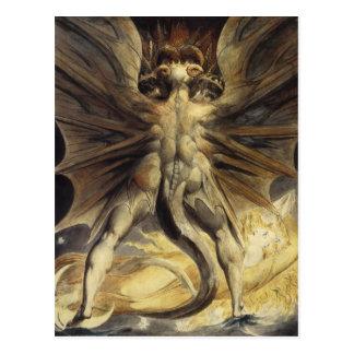 Guillermo Blake - el gran dragón rojo y la mujer Tarjeta Postal