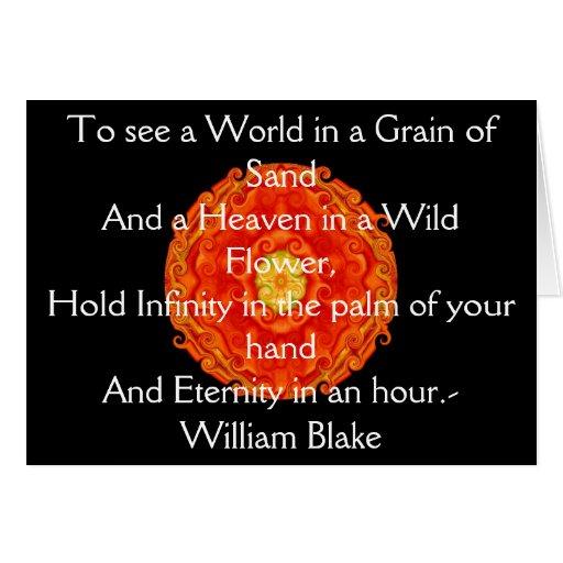 "Guillermo Blake ""mundo en un grano cita de la aren Tarjeta De Felicitación"