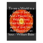 """Guillermo Blake """"mundo en un grano cita de la aren Tarjeta Postal"""