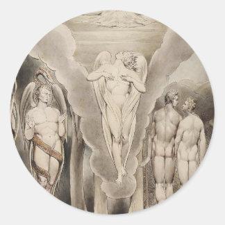 Guillermo Blake: Paraíso del ` s de Milton perdido Pegatina Redonda