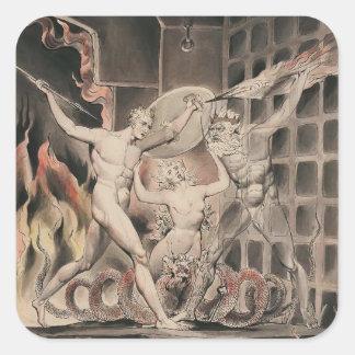 Guillermo Blake: Paraíso del ` s de Milton perdido Pegatina Cuadrada