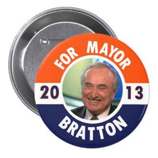 Guillermo Bratton para el alcalde de NYC en 2013 Pin Redondo De 3 Pulgadas