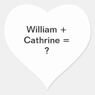 Guillermo + ¿Cathrine =? Pegatina En Forma De Corazón