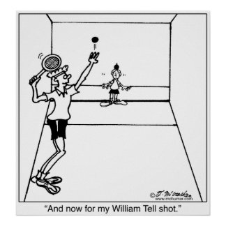 Guillermo dice el tiro del Racquetball Poster