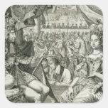 Guillermo III (1650-1702) y reyes de Maria II Pegatina Cuadrada