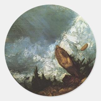 Guillermo Turner la caída de una avalancha, Pegatina Redonda