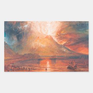 Guillermo Turner Vesuvio en arte del waterscape de Pegatina Rectangular