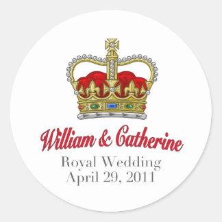 Guillermo y Catherine boda 29 de abril de 2011 Pegatina Redonda