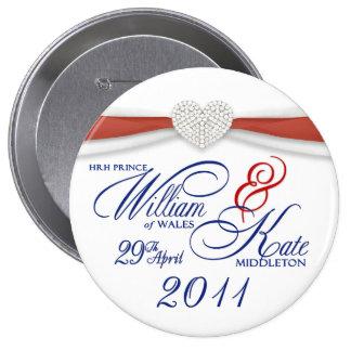 Guillermo y Kate - Pin conmemorativo del boda real Pin Redondo 10 Cm