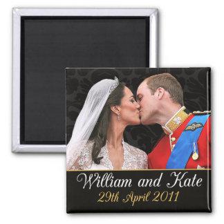 Guillermo y Kate que el boda real se besa Imán Cuadrado