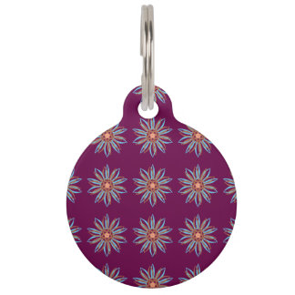 Guilloche Flower magenta Pet ID Tags