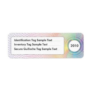 Guilloche Identification & Inventory Tag No.1 Label