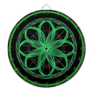 Guilloche Mandala Green and Black Dartboard